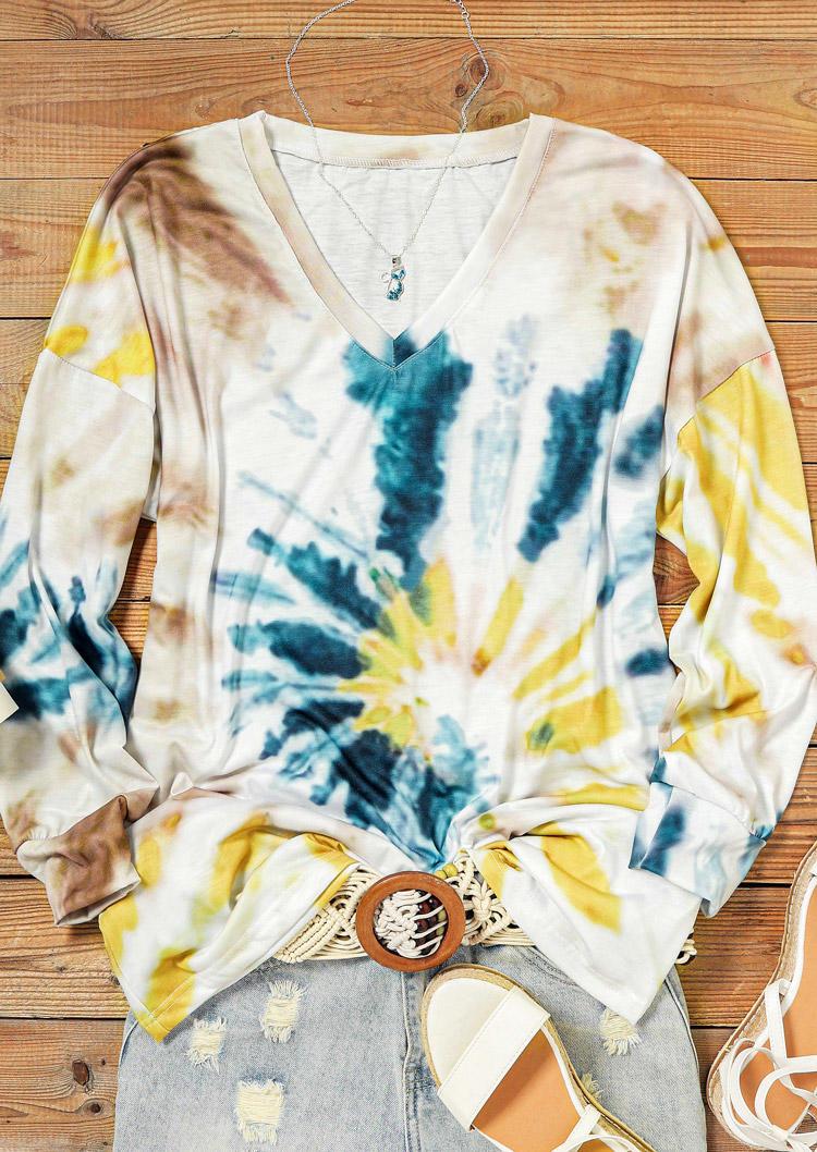Swirl Tie Dye V-Neck Long Sleeve Blouse
