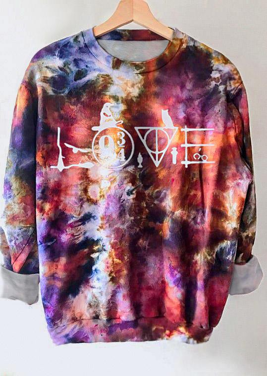 Tie Dye Love Geometric Pullover Sweatshirt