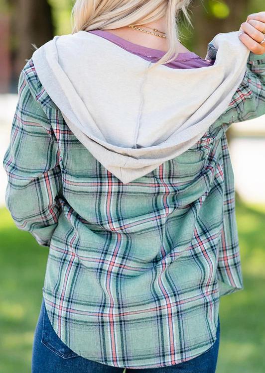 Plaid Drawstring Pocket Long Sleeve Hooded Shirt