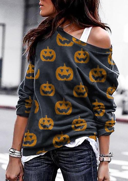 Halloween Pumpkin Face O-Neck Sweatshirt - Dark Grey