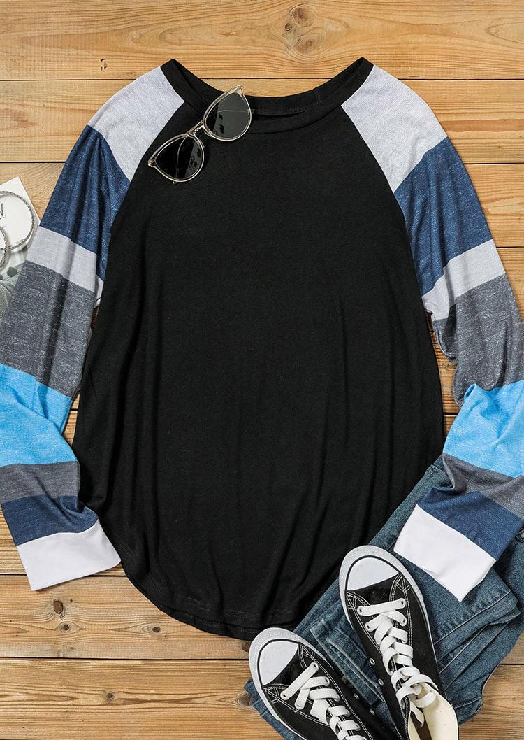 Color Block O-Neck Long Sleeve T-Shirt Tee - Black
