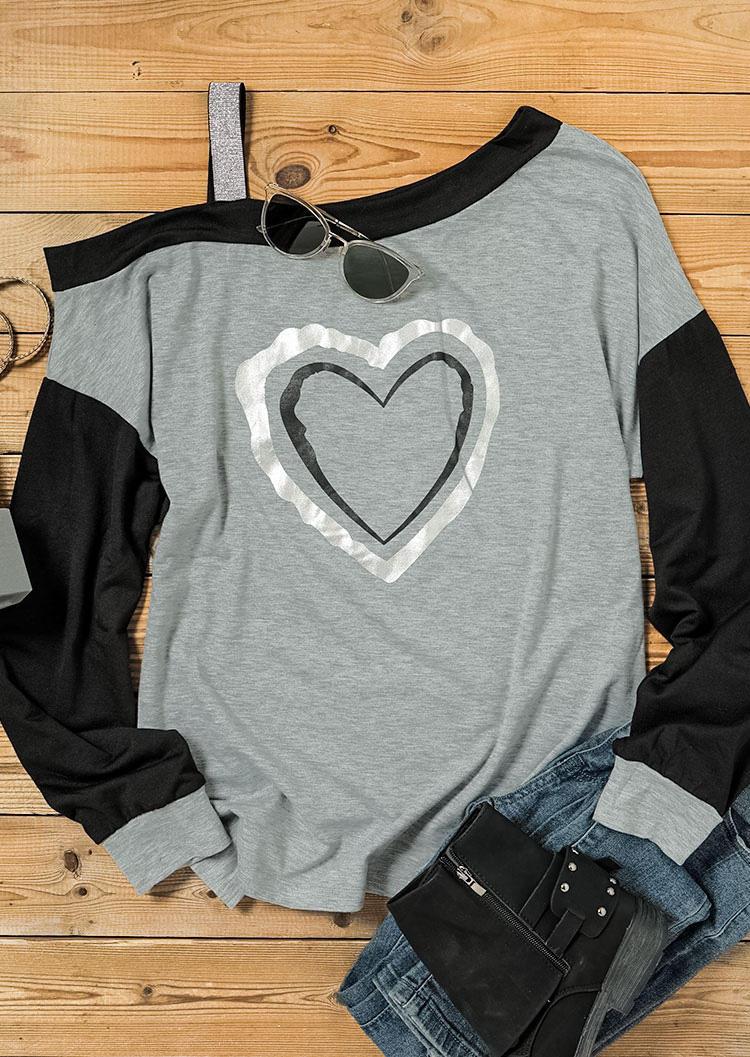 Heart Color Block Long Sleeve Blouse - Gray
