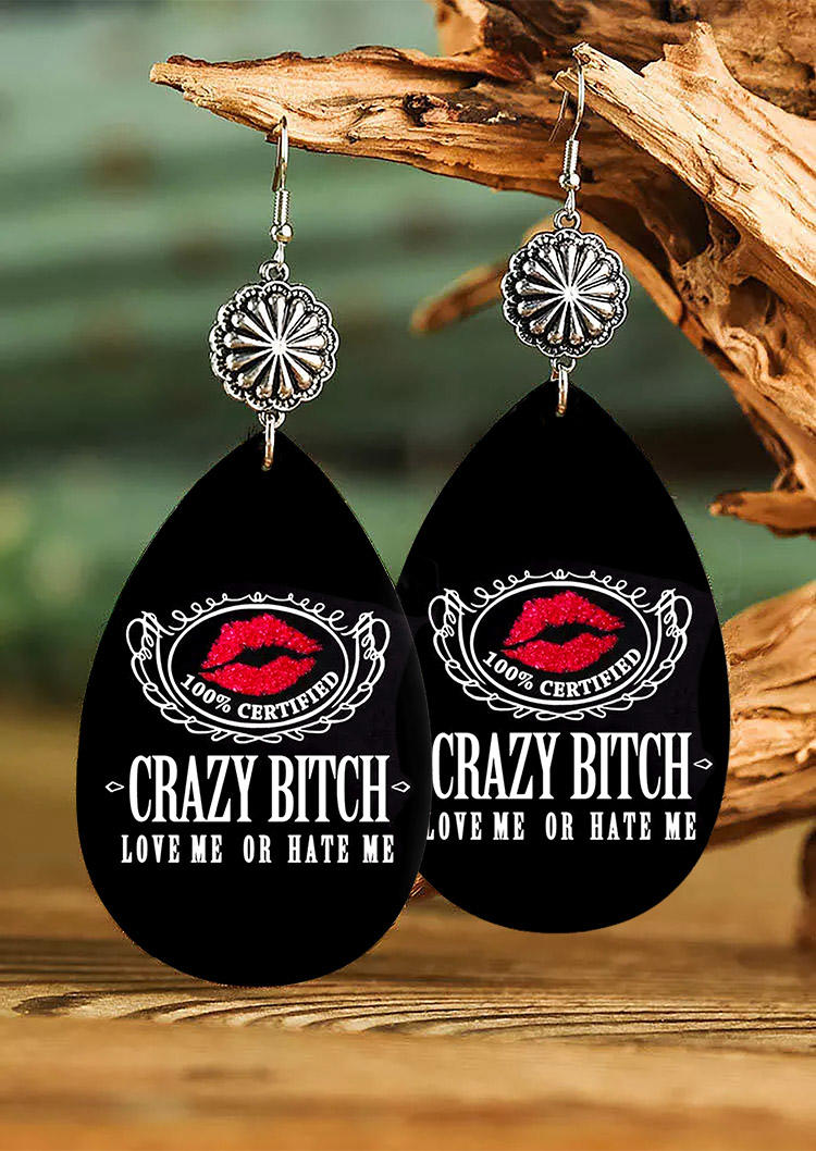 Crazy Bitch Love Me Or Hate Me Lips Sunflower Earrings