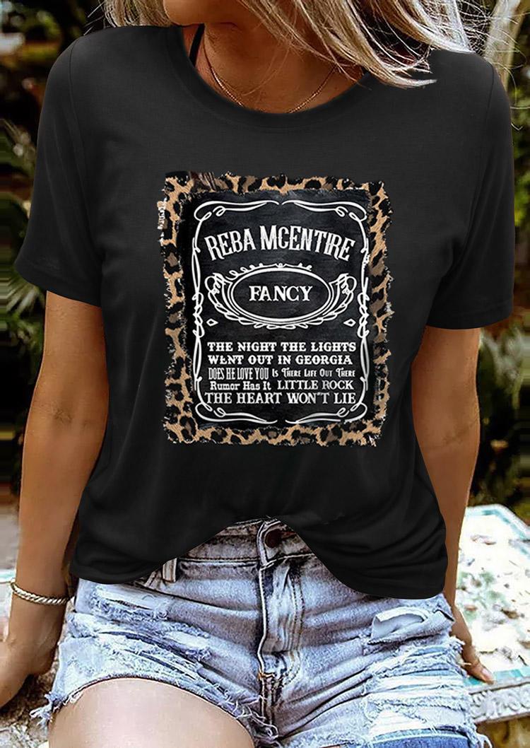 Raba McEntire Fancy Leopard T-Shirt Tee - Black