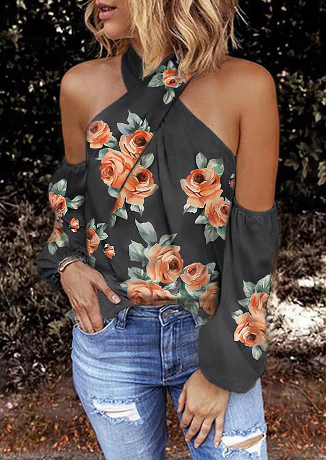Rose Halter Cold Shoulder Long Sleeve Blouse - Dark Gray