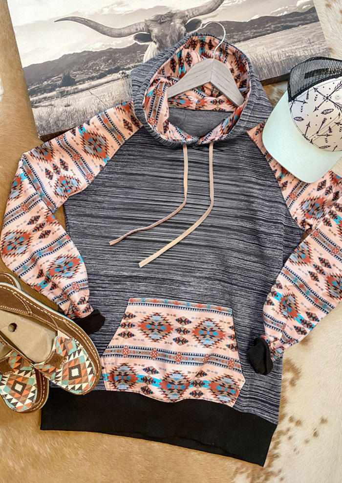 Hoodies AztecGeometric Kangaroo Pocket Drawstring Hoodie in Multicolor. Size: S,M,L,XL