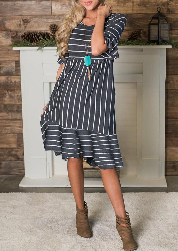 Striped Pocket Flare Sleeve Midi Dress