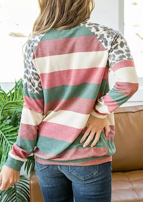 Coloful Striped Leopard Long Sleeve Blouse