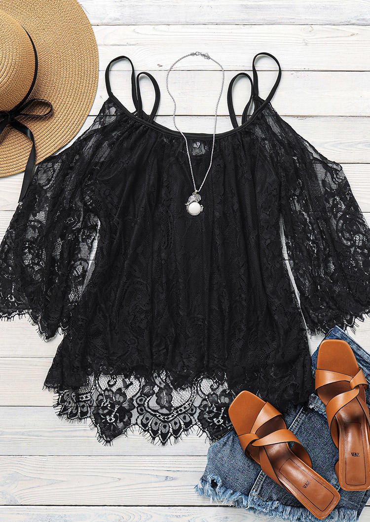 Floral Lace Cold Shoulder Blouse with Camisole