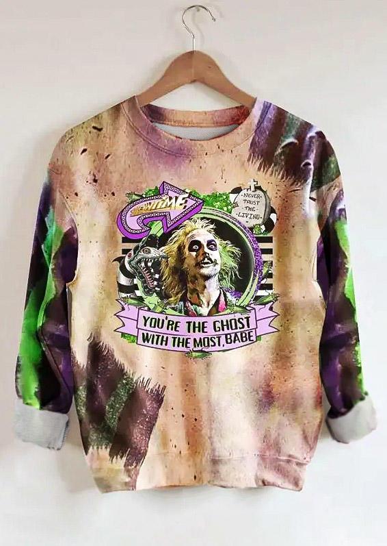 Halloween You're The Ghost Tie Dye Sweatshirt - Light Purple