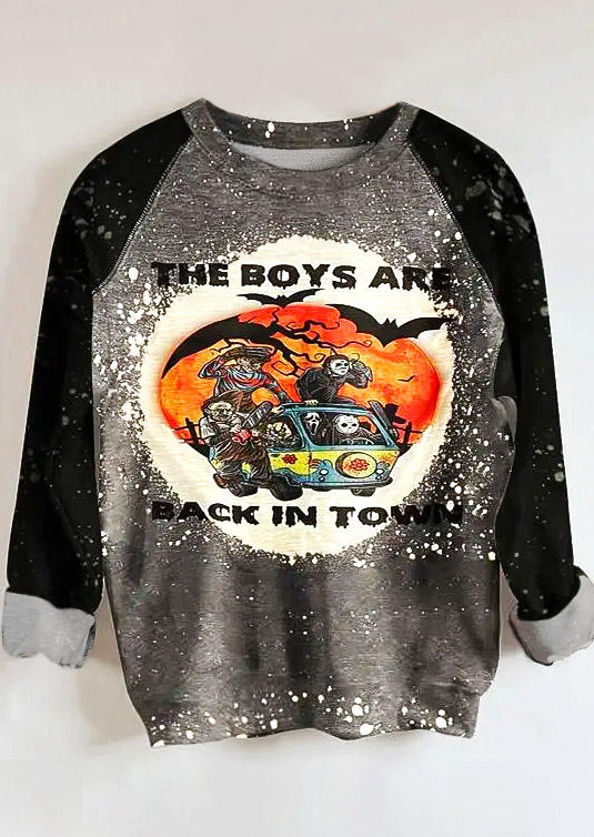 Halloween The Boys Are Back In Town Bleached Sweatshirt - Gray