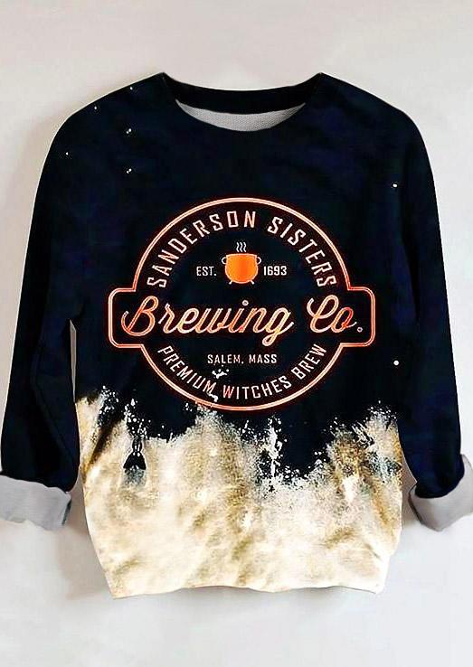 Halloween Coffee Brewing Company Bleached Sweatshirt - Black