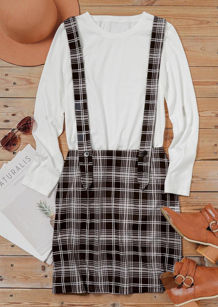 Plaid Button Overall Causal Skirt