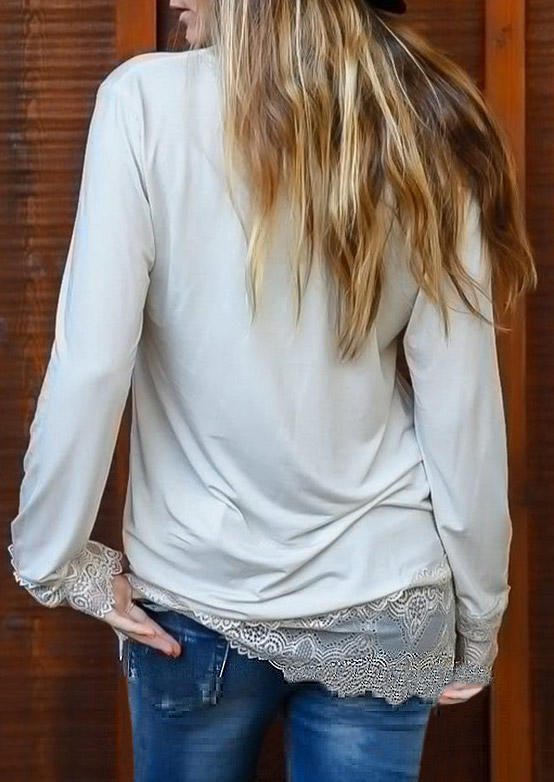 Lace Splicing LongSleeve Blouse - White