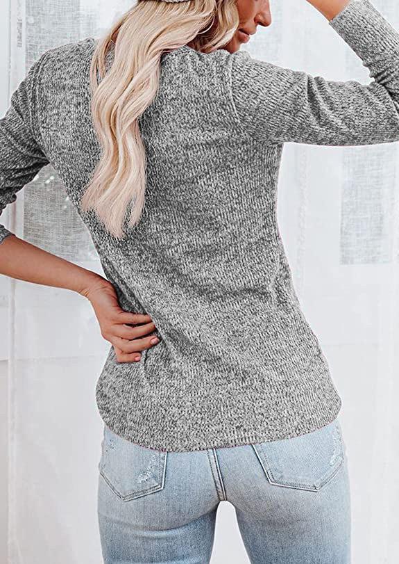 Button Long Sleeve Blouse - Gray
