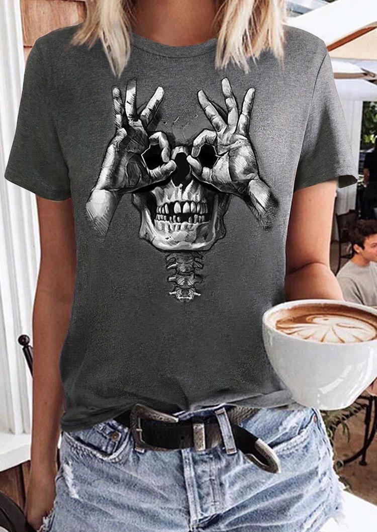 Halloween Funny Skull T-Shirt Tee - Dark Grey
