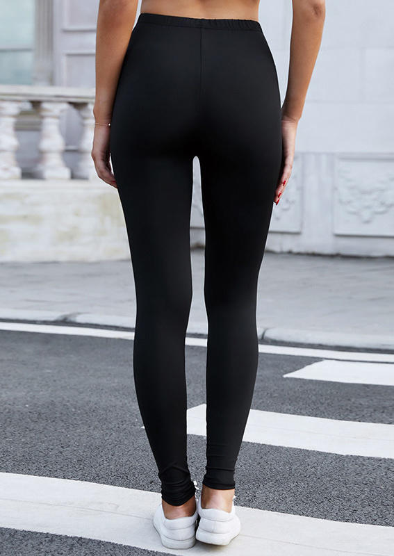 Hollow Out High Waist Leggings - Black