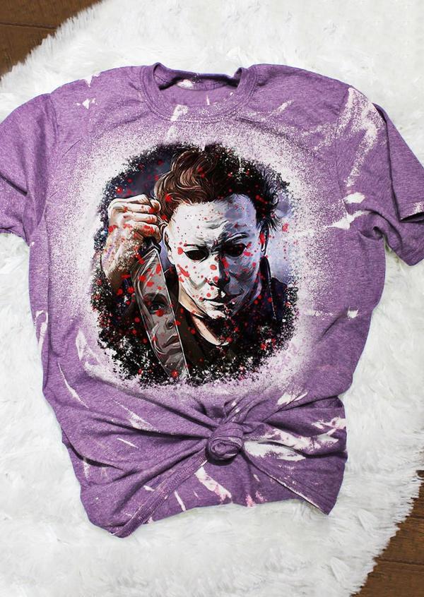 Halloween Horror Movie Character T-Shirt Tee - Purple