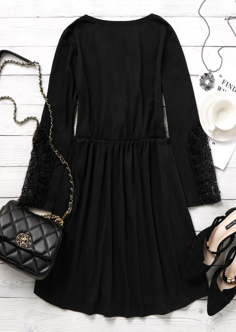 Hollow Out Lace Splicing Wrap Mini Dress - Black