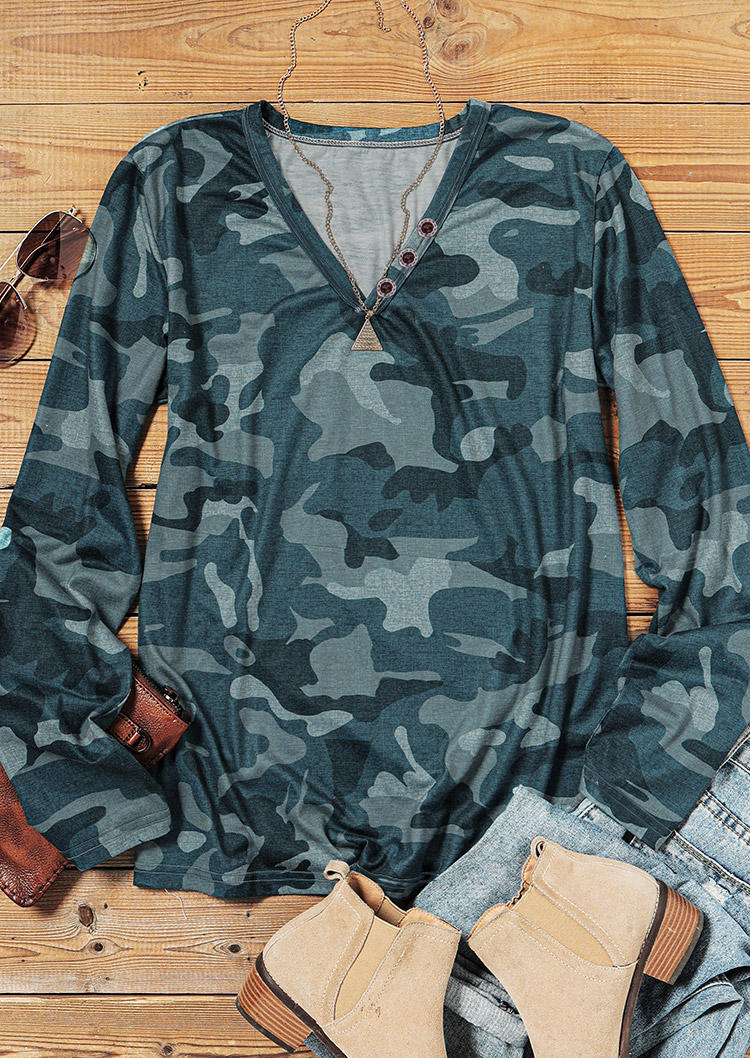 Camouflage Button V-Neck Long Sleeve Blouse