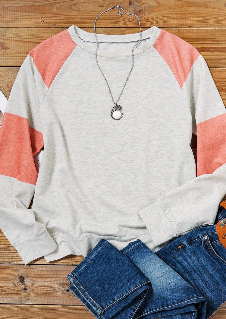 Color Block LongSleeve O-Neck Blouse - Gray