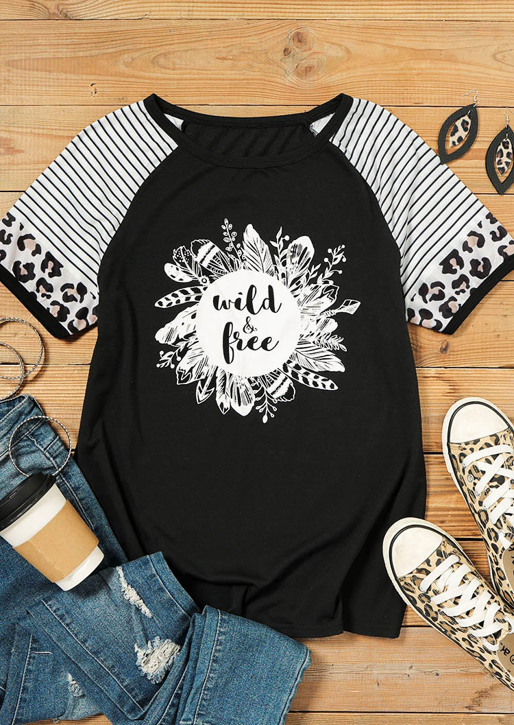 Wild & Free Striped Leopard Splicing Feather T-ShirtTee - Black