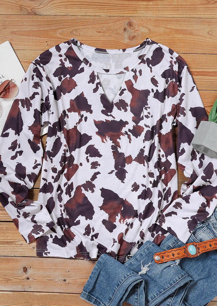 Cow Keyhole Neck Long Sleeve Blouse