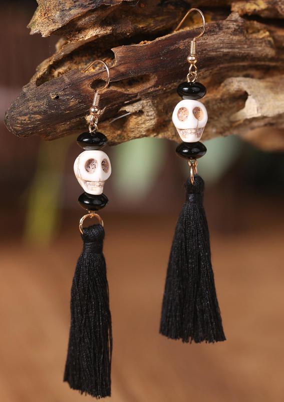 Halloween Skull Tassel Earings