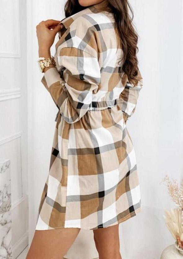 Plaid Button Drawstring Mini Dress