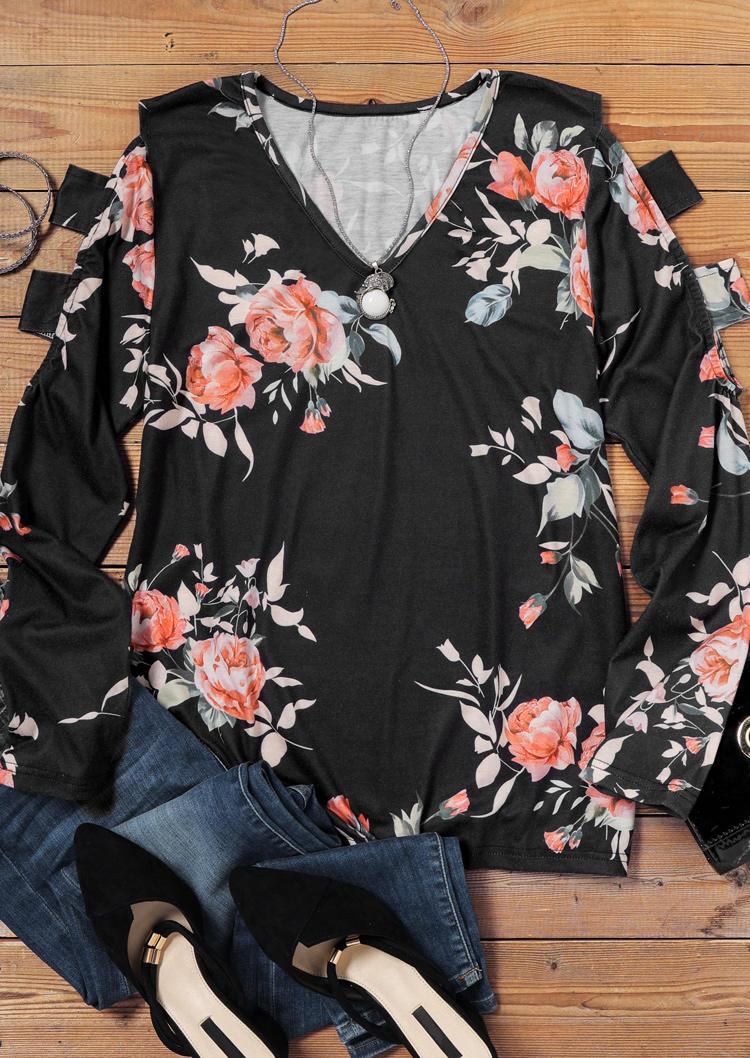 Floral Hollow Out V-Neck Blouse - Black