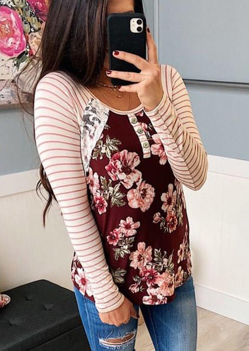Striped Floral Splicing Lace Button Blouse - Red