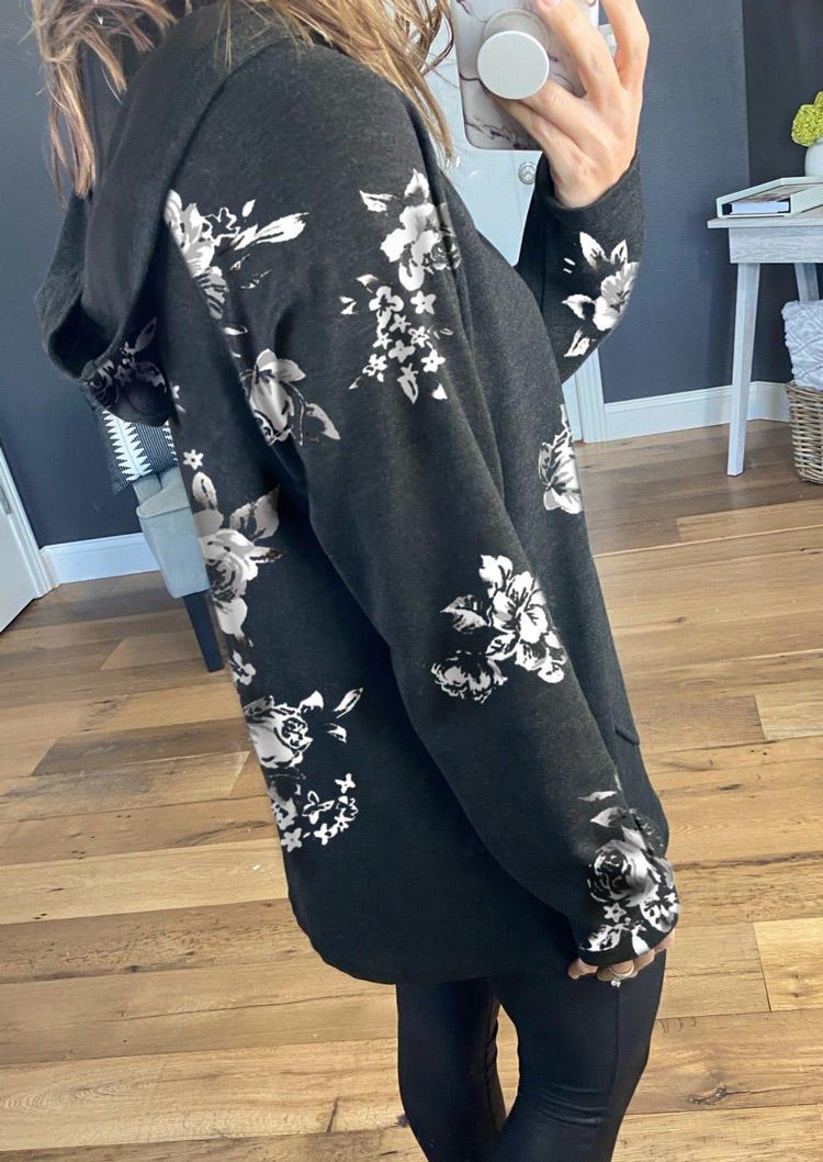 Floral Button Pocket Long Sleeve Hoodie - Dark Grey