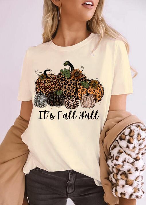 It's Fall Y'all Leopard Pumpkin T-Shirt Tee - Beige