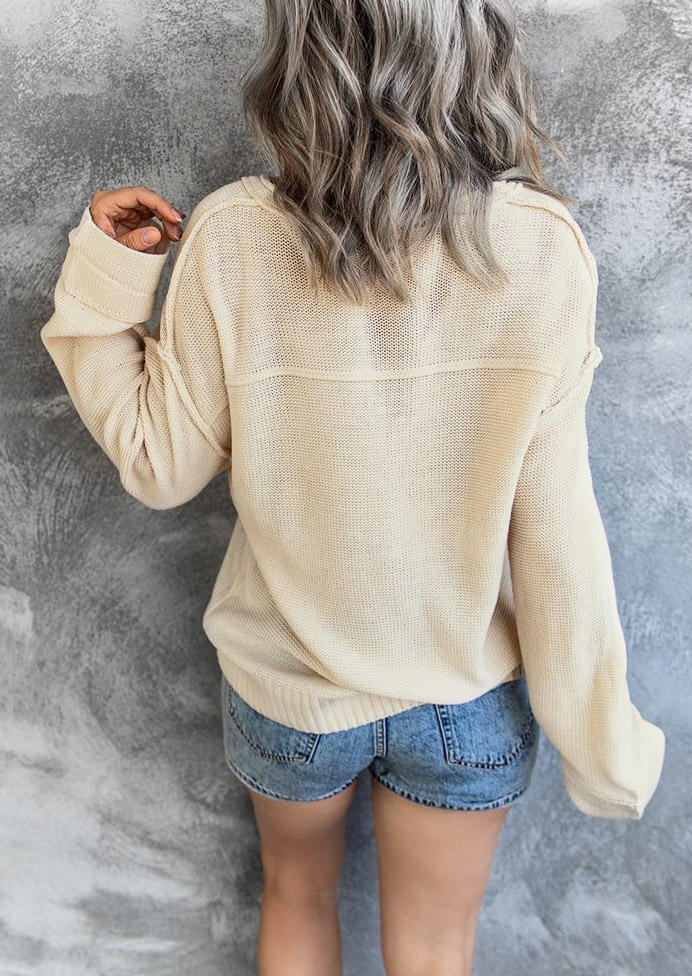 Button Knitted V-Neck Long Sleeve Sweater - Beige