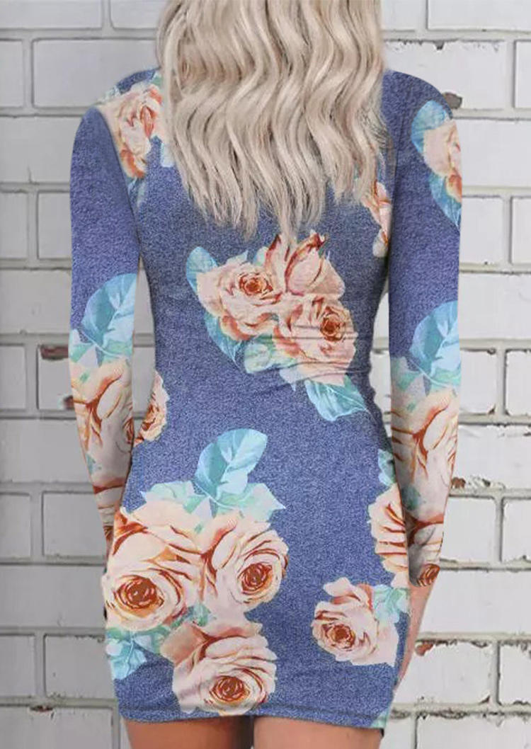 Floral Hollow Out Twist Bodycon Dress - Gray