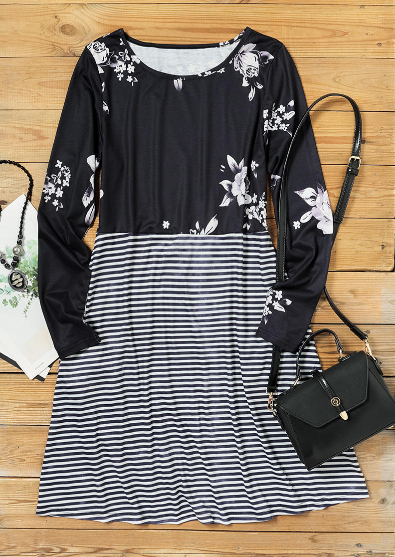 Floral Striped O-Neck Long Sleeve Mini Dress - Black