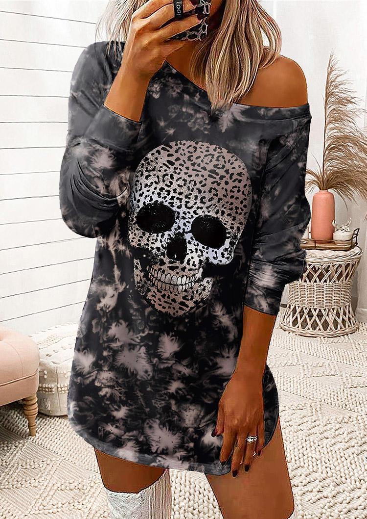 Tie Dye Leopard Skull Long Sleeve Mini Dress