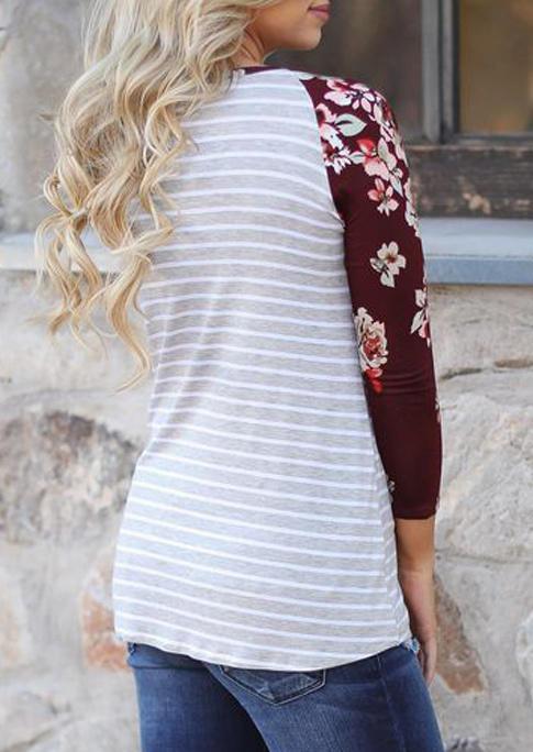 Striped Floral Raglan Sleeve Blouse