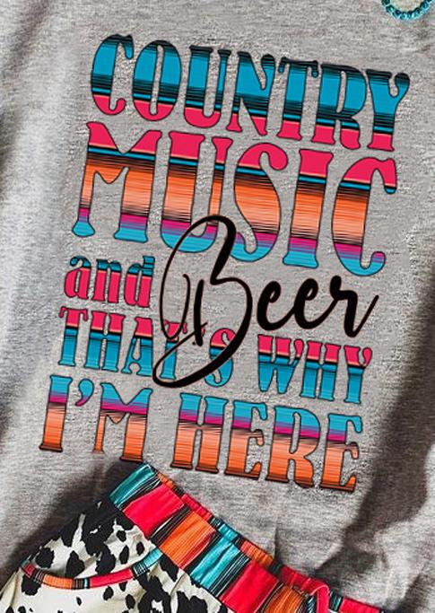 Country Music And Beer Long Sleeve Sweatshirt - Gray