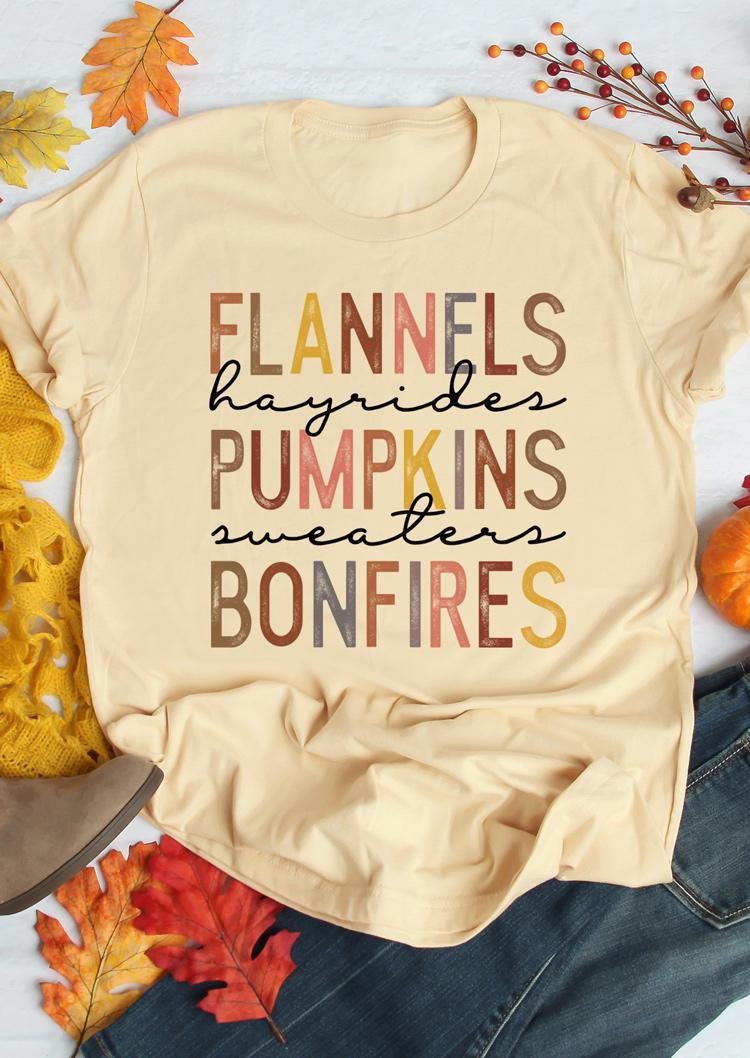 Flannels Pumpkins Bonfires O-Neck T-Shirt Tee - Apricot