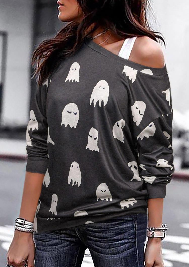 Halloween Ghost O-Neck Long Sleeve Blouse - Gray