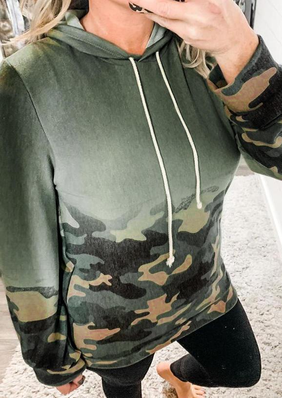 Camouflage Gradient Drawstring LongSleeve Hoodie - Green