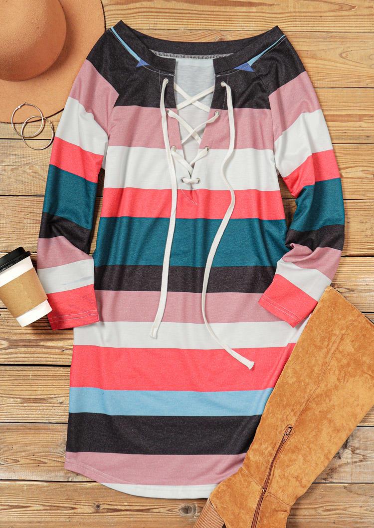 Striped Color Block Lace Up Mini Dress
