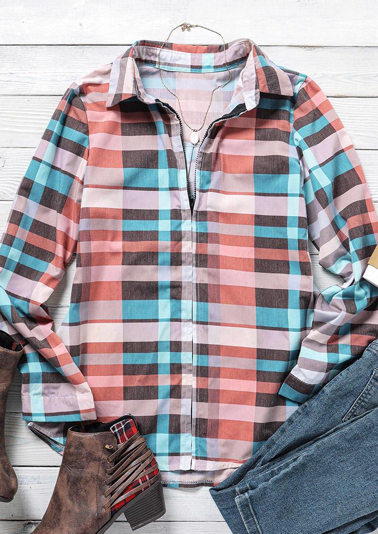 Plaid Zipper Long Sleeve Shirt