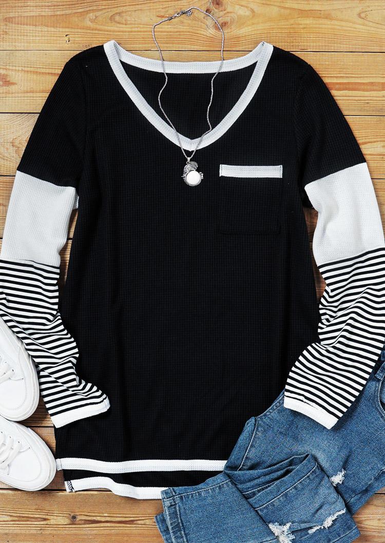 Striped Pocket Long Sleeve Casual Blouse - Black