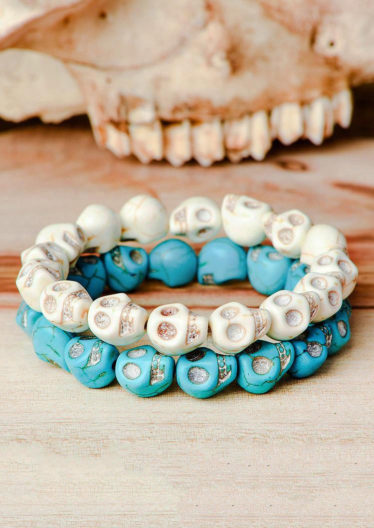 2Pcs Halloween Synthetic Turquoise Skull Bracelet Set