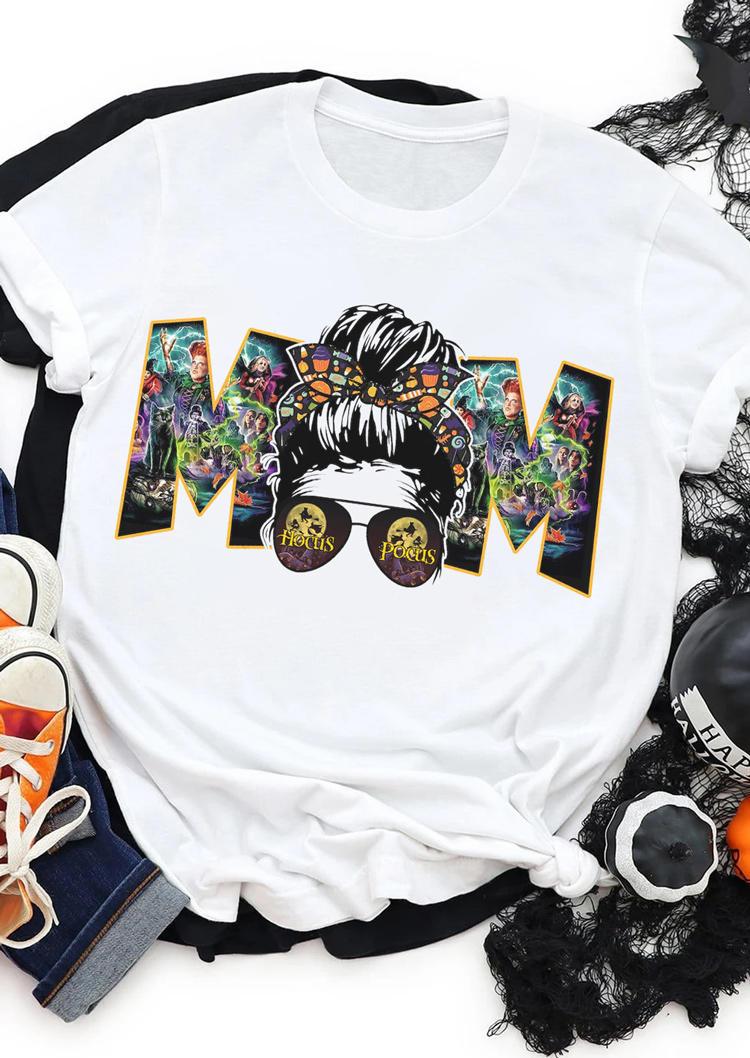 Halloween Witch Mom Skull T-Shirt Tee - White