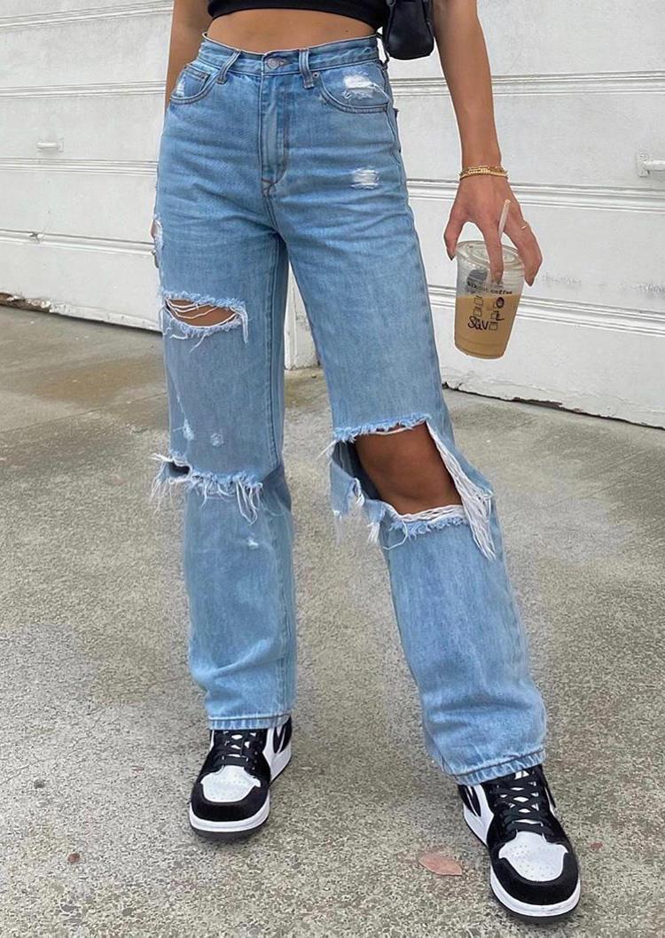 Ripped Hole Pocket Button Zipper Denim Jeans - Blue