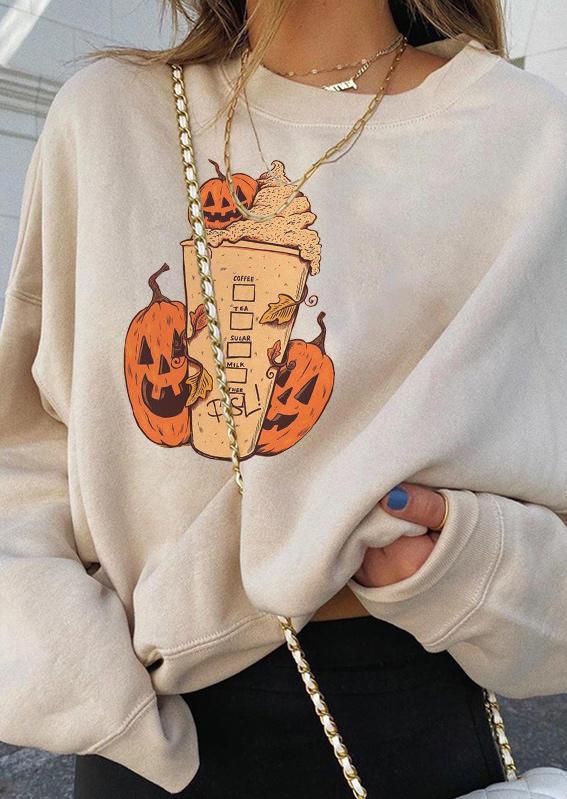 Halloween Pumpkin Face Pullover Sweatshirt - Beige