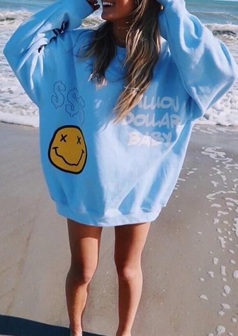 Smiley Letter Graphic Long Sleeve Sweatshirt - Blue